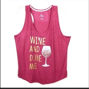 """PJ Couture """"Wine And Dine Me"""" Graphic Tank Top"""